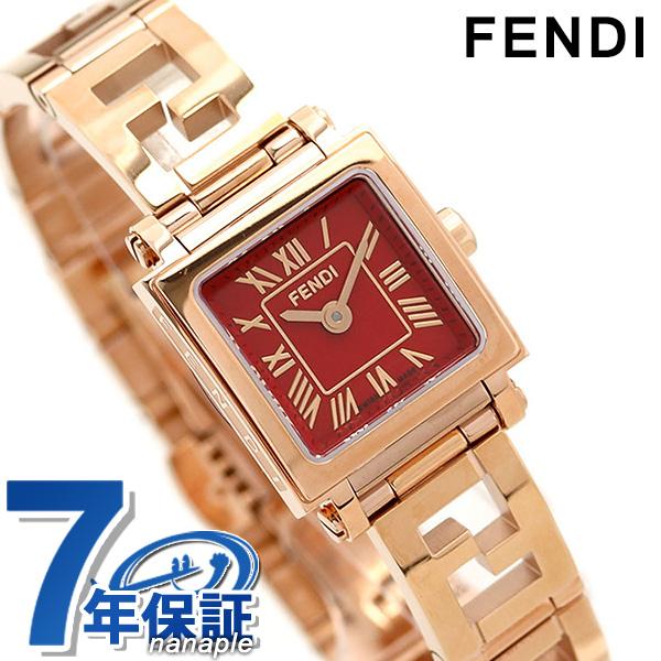 フェンディ FENDI レディース 腕時計 クアドロ ミニ 20mm F605527200D レッド×ピンクゴールド 時計【あす楽対応】
