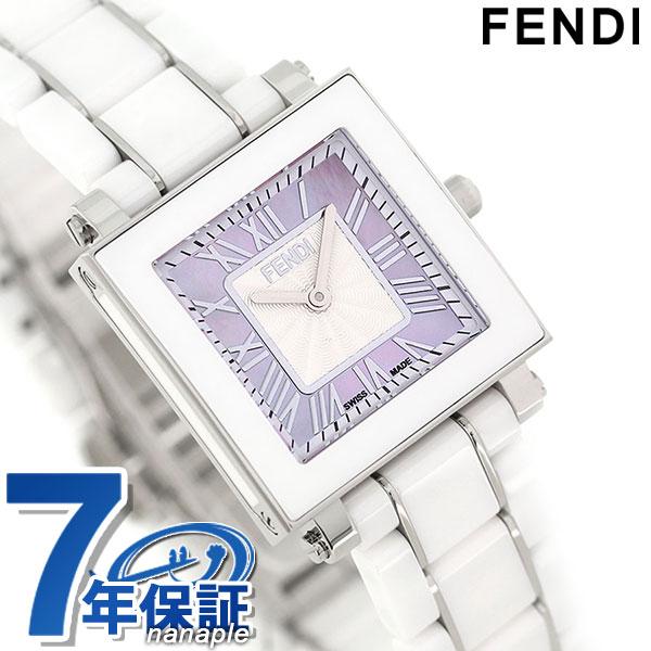 フェンディ クアドロ 25mm クオーツ レディース 腕時計 F622270 FENDI ピンクシェル 時計