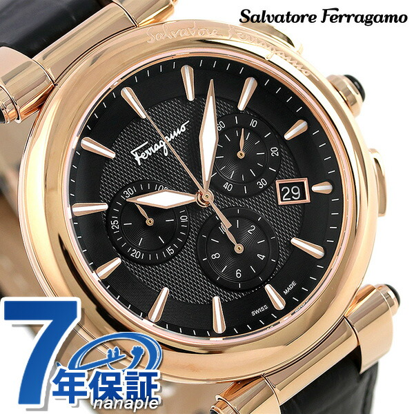 フェラガモ イディリオ クロノグラフ スイス製 腕時計 FCP060017 Salvatore Ferragamo ブラック 時計【あす楽対応】