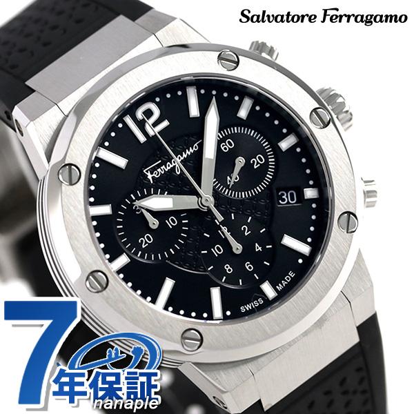 フェラガモ エフエイティ 39mm クロノグラフ メンズ 腕時計 FIH010015 Salvatore Ferragamo ブラック 時計【あす楽対応】