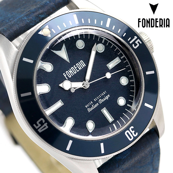 フォンデリア シーウルフ 43mm クオーツ メンズ 腕時計 6A002UBB FONDERIA ブルー 時計