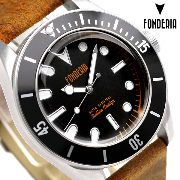 フォンデリア シーウルフ 43mm 革ベルト メンズ 腕時計 6A002UN2 FONDERIA 時計