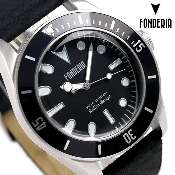 フォンデリア シーウルフ 43mm クオーツ メンズ 腕時計 6A002UNN FONDERIA ブラック 時計