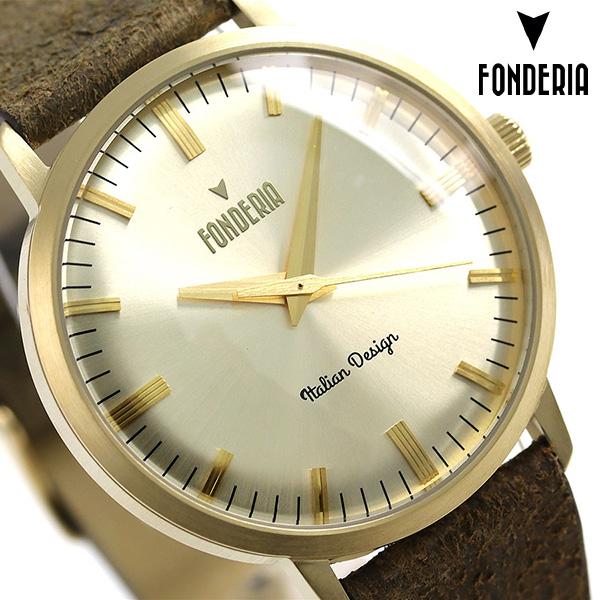 フォンデリア ザ プロフェッサー 41mm 革ベルト メンズ 腕時計 6G003US3 FONDERIA 時計