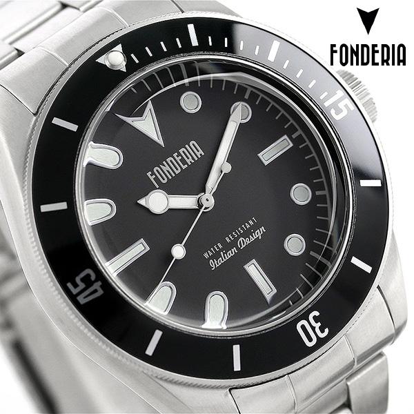 フォンデリア シーウルフ 43mm メンズ 腕時計 7A002UNN FONDERIA ブラック 時計