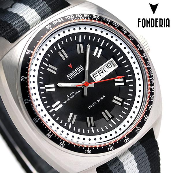 フォンデリア ザ ギャンブラー 41mm クオーツ メンズ 腕時計 8A004UN1 FONDERIA ブラック 時計