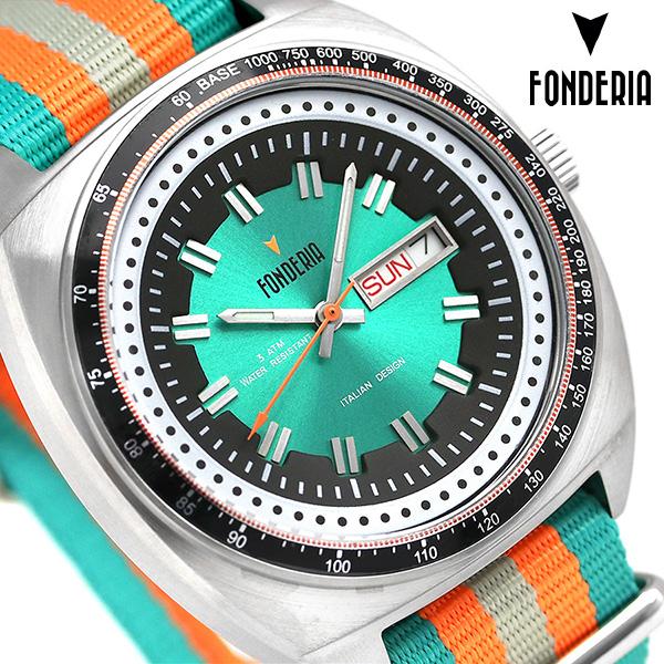 フォンデリア ザ ギャンブラー 41mm メンズ 腕時計 8A004UV1 FONDERIA グリーン×オレンジ 時計