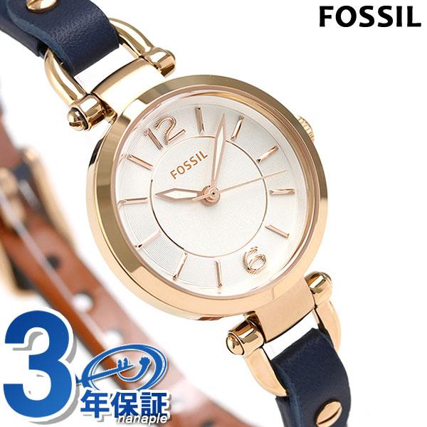 フォッシル ジョージア ミニ 26mm クオーツ レディース 腕時計 ES4026 FOSSIL シルバー×ネイビー 時計【あす楽対応】