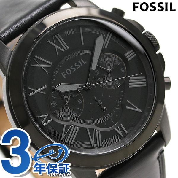 フォッシル グラント 46mm クロノグラフ 腕時計 FS5132 FOSSIL オールブラック 時計