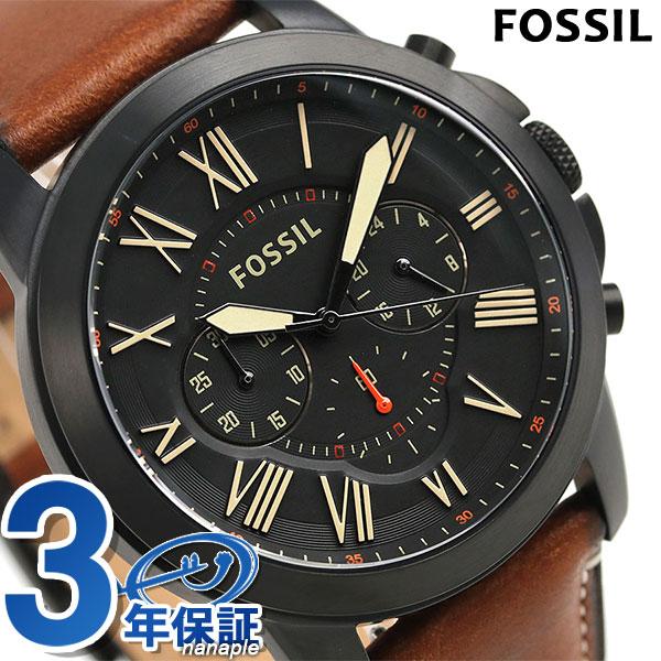 フォッシル グラント 46mm クロノグラフ メンズ 腕時計 FS5241 FOSSIL ブラック×ブラウン 時計【あす楽対応】