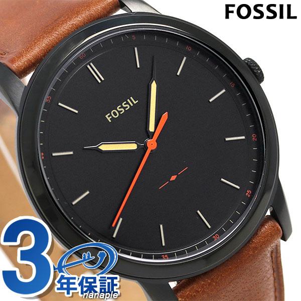 フォッシル ミニマリスト クオーツ メンズ 腕時計 FS5305 FOSSIL ブラック×ブラウン 時計【あす楽対応】