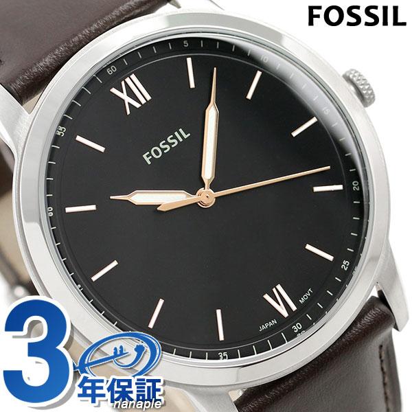 9e9408373 フォッシル FOSSIL men watch minimalist 44mm leather belt FS5464 black X dark  brown clock ...