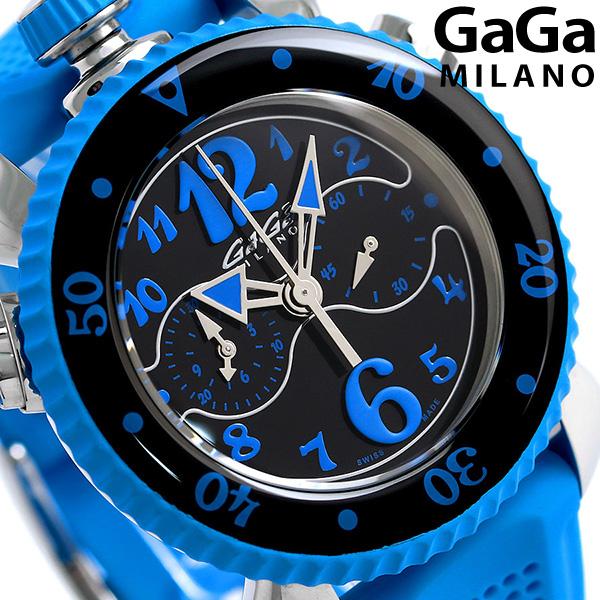 店内ポイント最大43倍!16日1時59分まで! ガガミラノ クロノ スポーツ 45MM スイス製 メンズ 7010.03 GaGa MILANO 腕時計 ブラック×ブルー 時計
