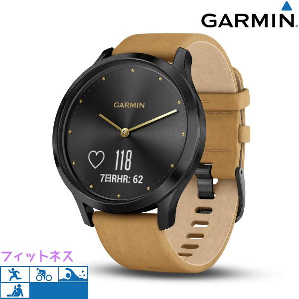 ガーミン GARMIN vivomove HR スマートウォッチ タッチパネル 010-01850-70 腕時計 ブラック×タン 革ベルト 時計