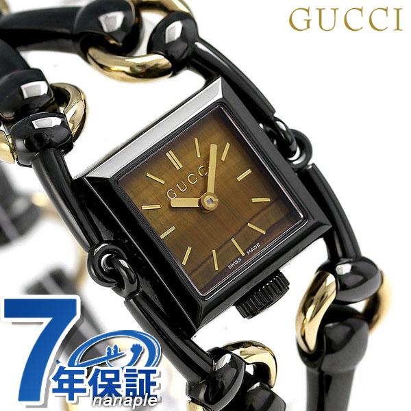 2ac906c44f1 nanaple  Gucci clock Lady s GUCCI watch シニョリーア 20mm quartz YA116518 brown X  black