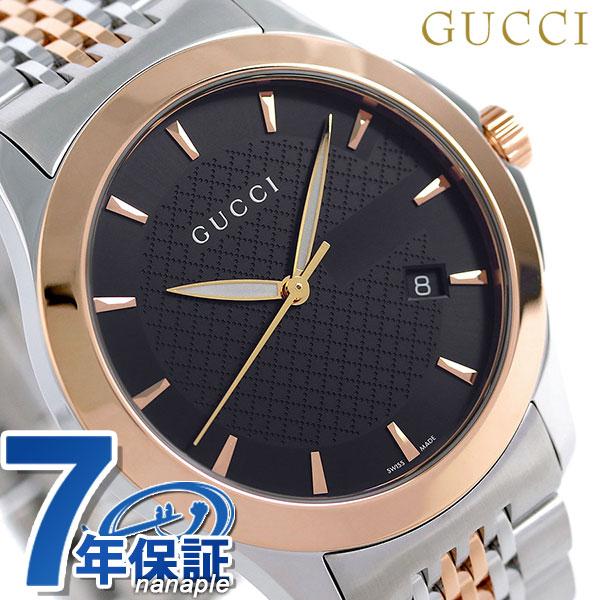 グッチ 時計 メンズ GUCCI 腕時計 Gタイムレス 40mm ブラック×ピンクゴールド YA126410【あす楽対応】