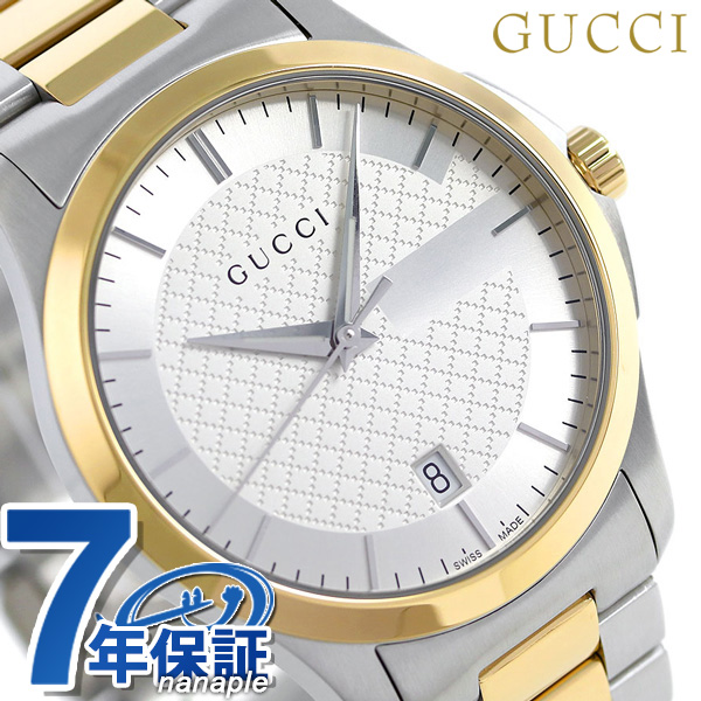 c89a643e16e nanaple  Gucci clock men GUCCI watch G thymeless 40mm silver X gold YA126450