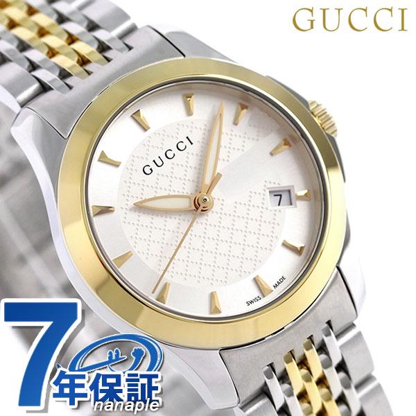 5a2053ca038 nanaple  Gucci clock Lady s GUCCI watch G thymeless 27mm silver X gold  YA126511