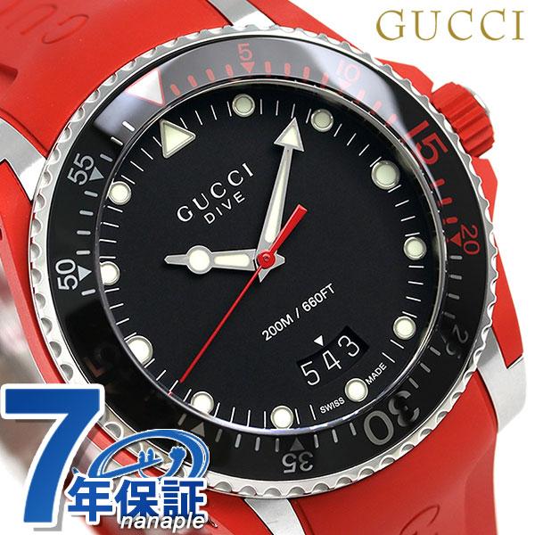 5d61591ddf7 nanaple  Gucci clock men GUCCI watch dive 43mm YA136309 black X red ...