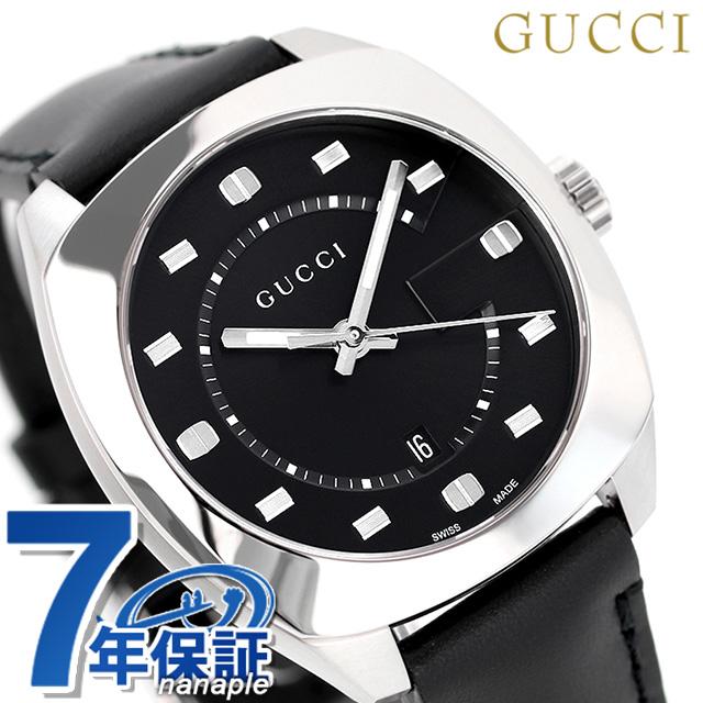 店内ポイント最大43倍!16日1時59分まで! グッチ 時計 メンズ GUCCI 腕時計 GG2570コレクション 41mm YA142307 革ベルト ブラック