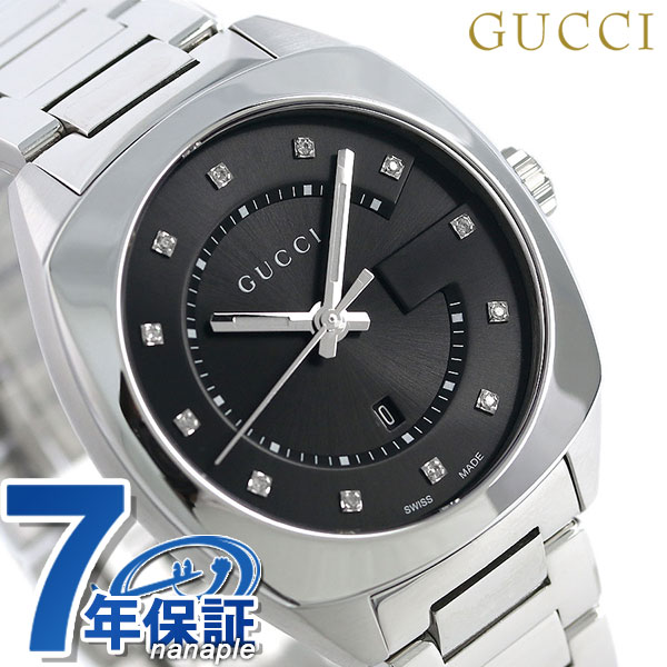 00d0d265406 nanaple  Gucci clock Lady s GUCCI watch GG2570 collection 37mm black ...