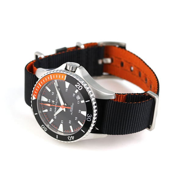 汉密尔顿黄褐色深蓝水下呼吸器自动40MM H82305931 HAMILTON手表黑色