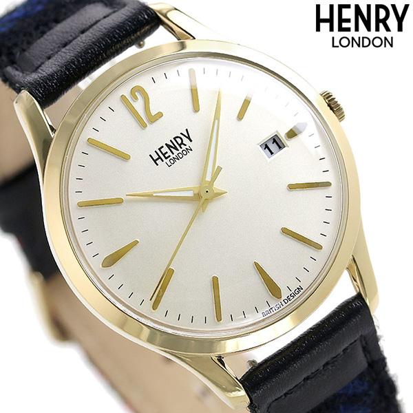 ヘンリーロンドン ハリスツイード コラボモデル 39mm メンズ 腕時計 HL39-S-0430 HENRY LONDON クリーム×マルチカラー【あす楽対応】