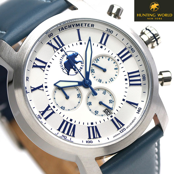 ハンティングワールド ランドスケープ 43mm メンズ HW930NV HUNTING WORLD 腕時計 ホワイト 時計