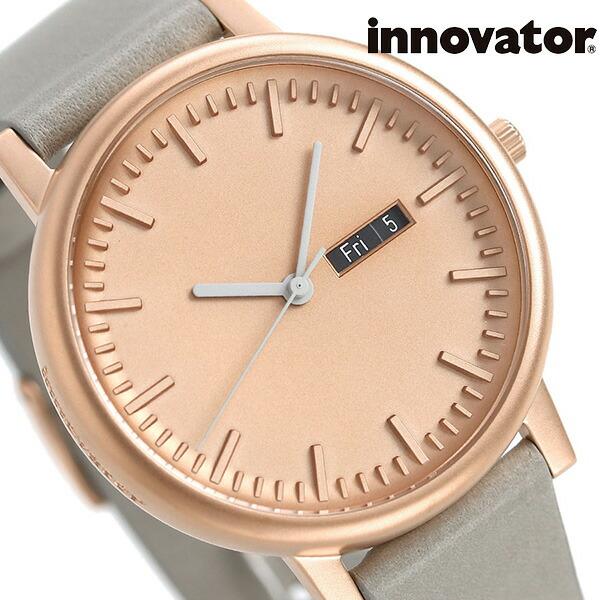 イノベーター ソリ―ド カレンダー 40mm ブロンズ×グレー IN-0003-0 Innovator メンズ 腕時計 革ベルト 時計