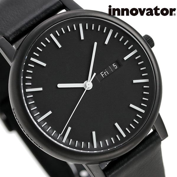 イノベーター ソリ―ド カレンダー 40mm オールブラック IN-0003-3 Innovator メンズ 腕時計 革ベルト 時計【あす楽対応】