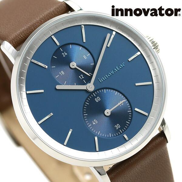 イノベーター オーリカー スモールセコンド 39mm IN-0004-5 Innovator メンズ 腕時計 ダークブルー×ブラウン 時計