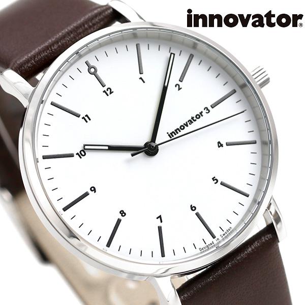 イノベーター エンケル 38mm ホワイト×ダークブラウン IN-0005-1 Innovator メンズ 腕時計 革ベルト 時計【あす楽対応】
