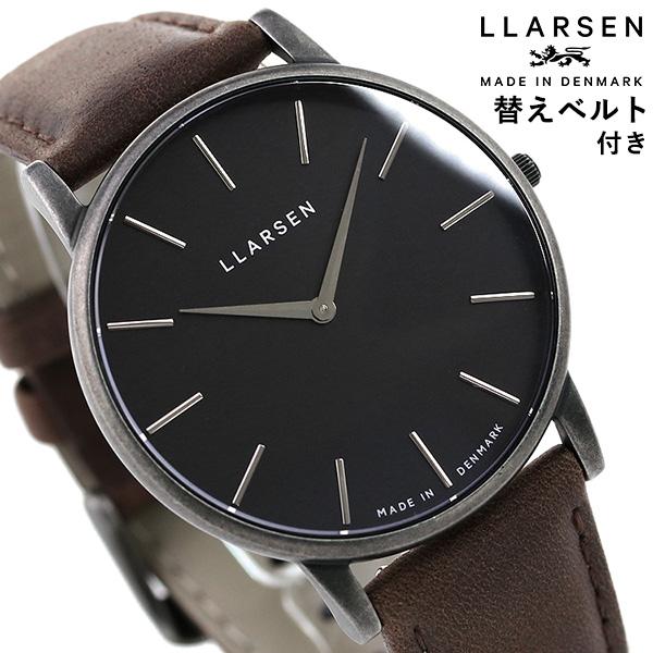 エルラーセン オリバー 39mm デンマーク製 メンズ 腕時計 LL147OBGYWD LLARSEN ブラック×ブラウン 時計