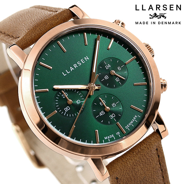 エルラーセン ノア 38mm クロノグラフ デンマーク製 レディース 腕時計 LL148RFSN LLARSEN グリーン×ブラウン 時計