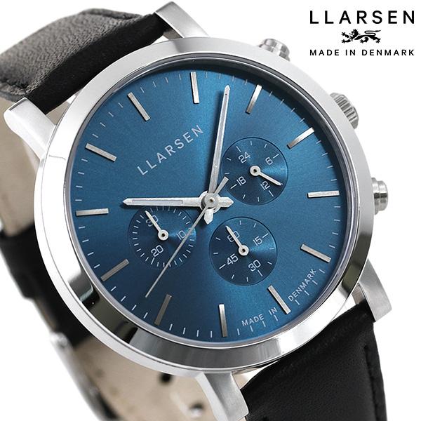 <title>正規品 新品 3年保証 送料無料 15日はさらに+4倍でポイント最大27倍 エルラーセン ノラ 42mm クロノグラフ デンマーク製 メンズ 腕時計 マート LL149SDIK LLARSEN ブルー×ブラック 時計</title>