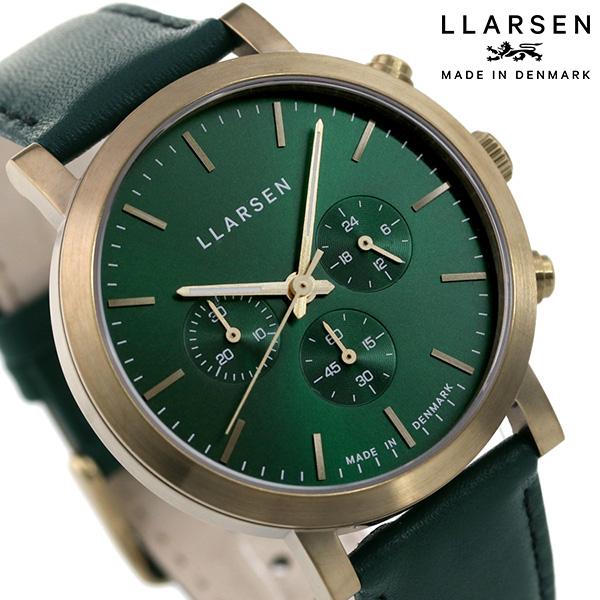 正規品 新品 3年保証 送料無料 15日はさらに+4倍でポイント最大27倍 エルラーセン ノラ 42mm クロノグラフ 時計 メンズ LLARSEN 公式ショップ 毎日がバーゲンセール グリーン×グリーン 腕時計 LL149ZFGN デンマーク製