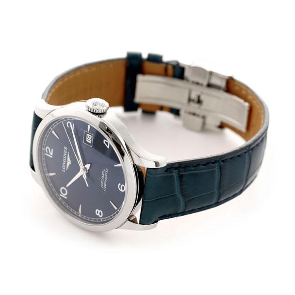 ロンジン 腕時計 レコード 39mm 自動巻き メンズ L2 820 4 96 4 LONGINES ブルー 革ベルト 時計 あす楽対応QdeCxrWoB