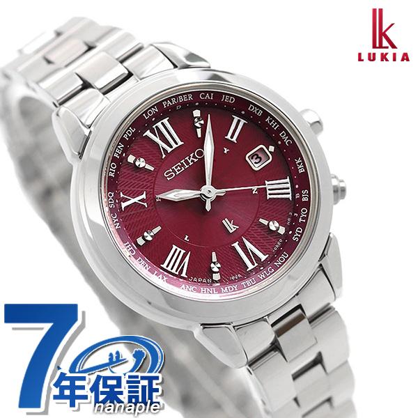 【ノベルティ付き♪】セイコー ルキア 電波ソーラー チタン 腕時計 SSQV019 SEIKO LUKIA ワインレッド 時計