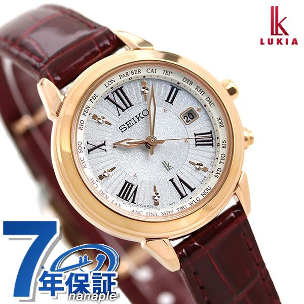 セイコー ルキア 電波ソーラー チタン 腕時計 SSQV022 SEIKO LUKIA シルバー×ワインレッド 時計【あす楽対応】
