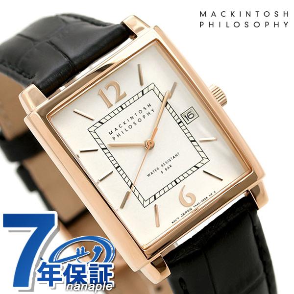マッキントッシュ メンズ 腕時計 革ベルト クラシック スクエア FBZT976 MACKINTOSH PHILOSOPHY ホワイト×ブラック 時計【あす楽対応】