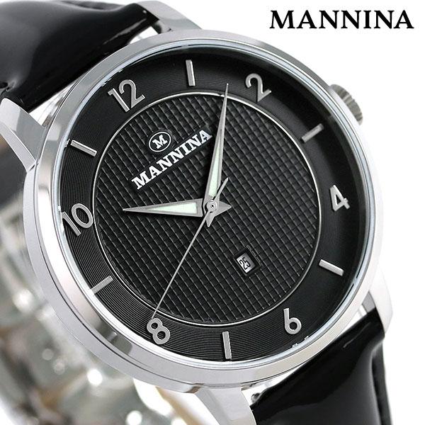 マンニーナ MANNINA メンズ 腕時計 ラウンド 38mm クオーツ 替えベルト付 MNN001-01 ブラック 時計