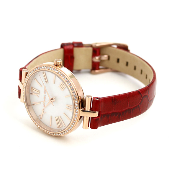 316ed21455f9 マイケルコース 時計 レディース 革ベルト ホワイトシェル×レッド MK2791 MICHAEL KORS マーシ 34mm 腕時計