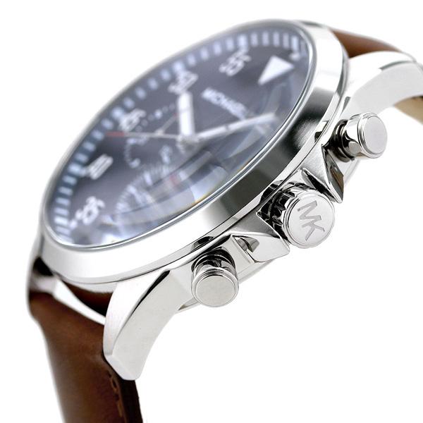 9e7b1b98ba91 マイケルコース 時計 ガージュ クロノグラフ メンズ 腕時計 MK8362 MICHAEL KORS ネイビー×ブラウン【あす