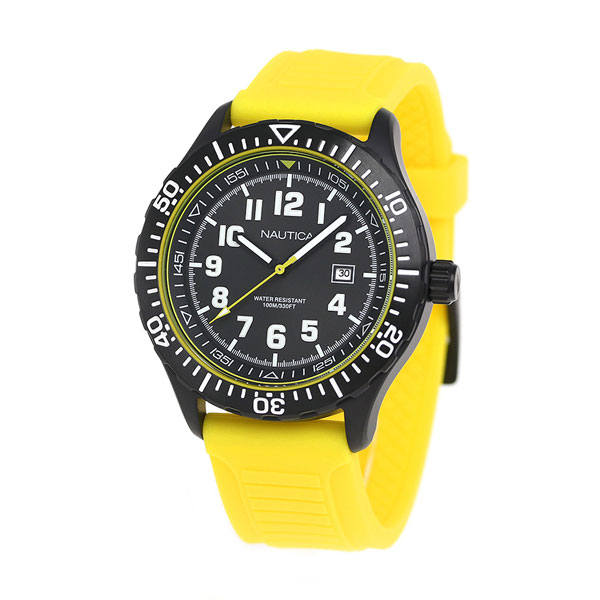 notika NSR105石英人手錶NAD13527G NAUTICA黑色×黄色
