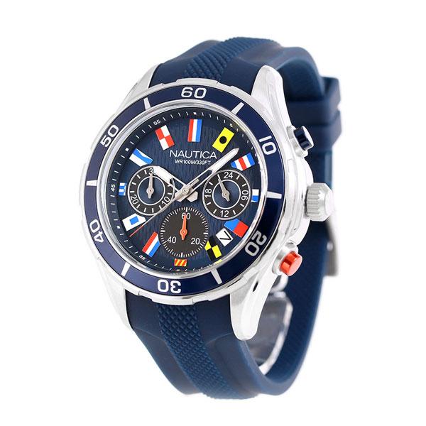 nanaple nautica nst12 flag chronograph watch nad16534g nautica navy