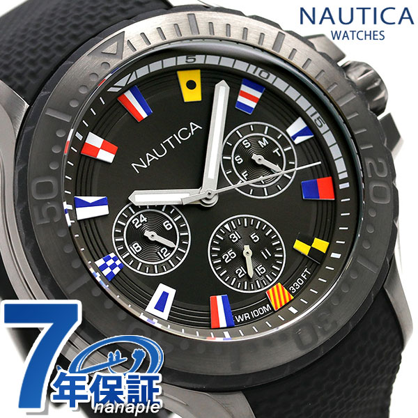 ノーティカ NAUTICA メンズ 腕時計 100m防水 旗 オールブラック 49mm NAPAUC007 オークランド 時計【あす楽対応】