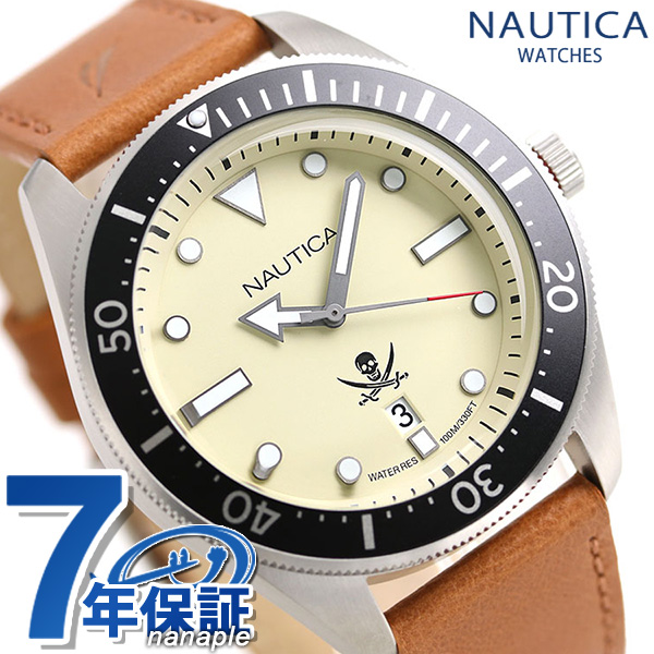 ノーティカ NAUTICA メンズ 腕時計 NAPHCP903 ヒルクレスト 44mm クリーム×ライトブラウン 時計【あす楽対応】