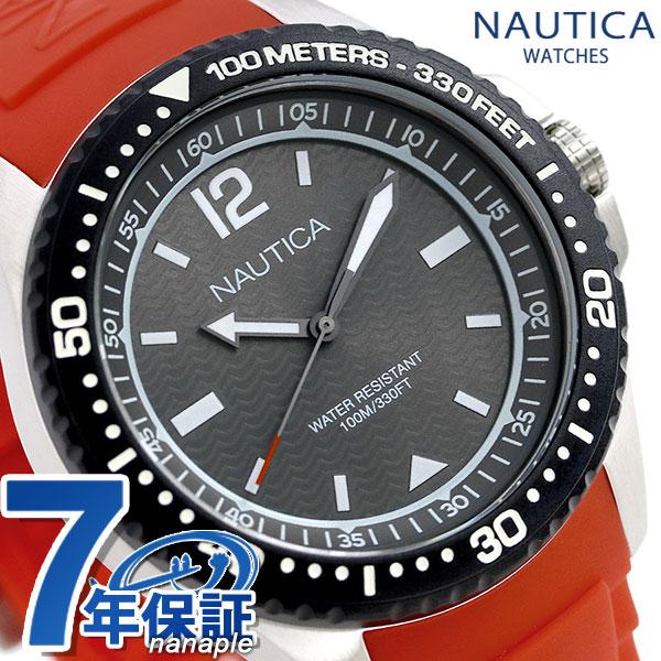 ノーティカ NAUTICA メンズ 腕時計 100m防水 ブラック×レッド シリコンベルト 44mm NAPMAU003 マウイ 時計【あす楽対応】