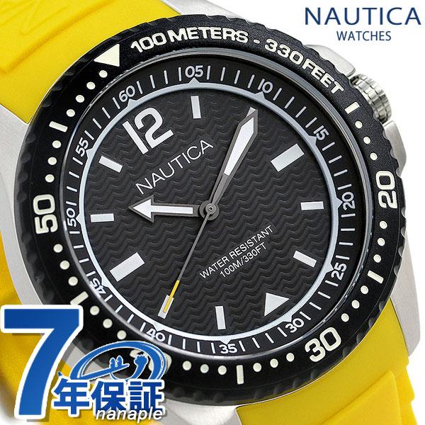 ノーティカ NAUTICA メンズ 腕時計 100m防水 ブラック×イエロー シリコンベルト 44mm NAPMAU005 マウイ 時計【あす楽対応】