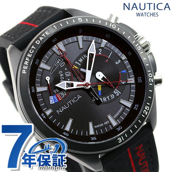 ノーティカ 腕時計 NAUTICA 時計 メンズ ヨットレース NAPSWS002 スター ワールド 51mm オールブラック×レッド【あす楽対応】